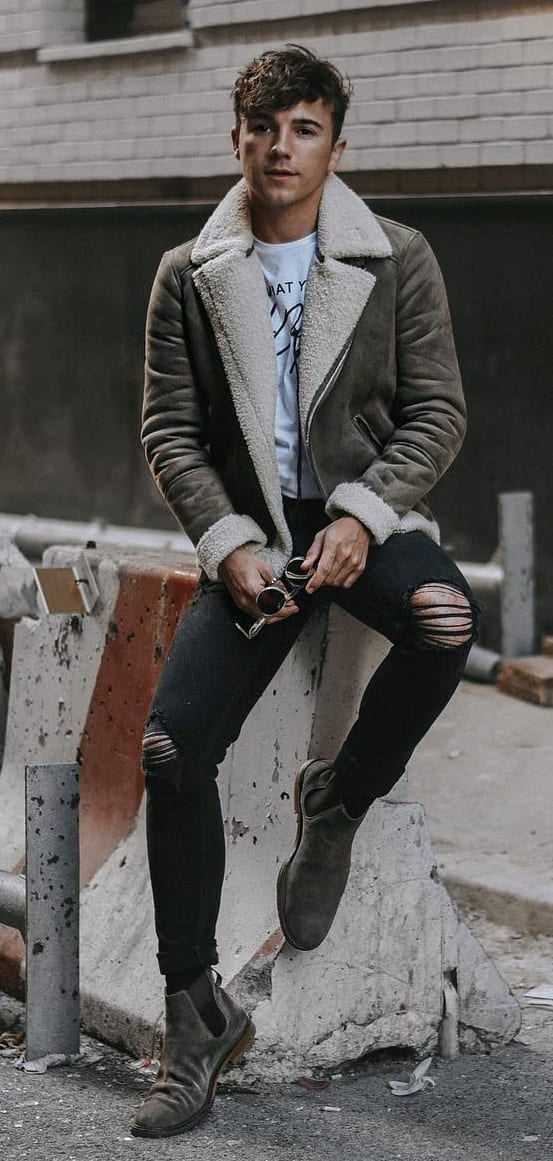 leather jacket with ripped black denim
