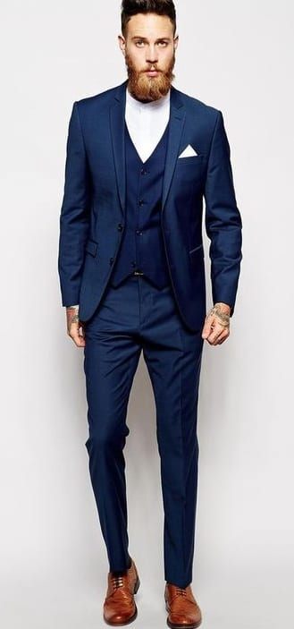 navy blue suit, white shirt, brown shoes