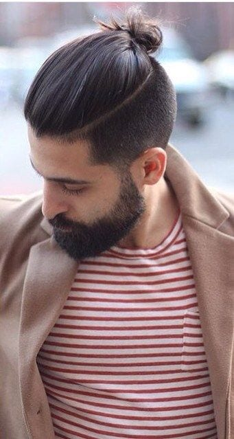 part line top knots with beard