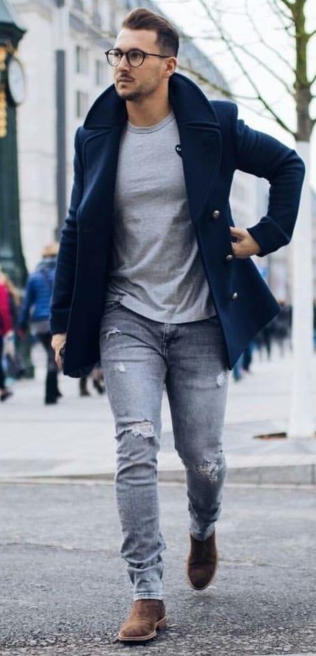 pea coat, t shirt, denim
