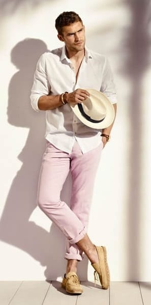 pink chinos Summer Outfit