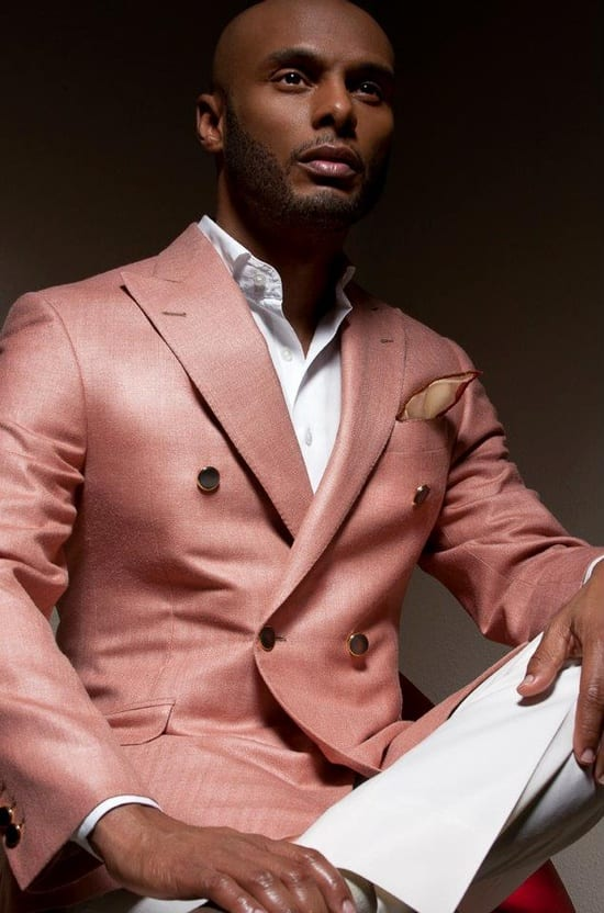 pink outfit-dark skin tone men style guide