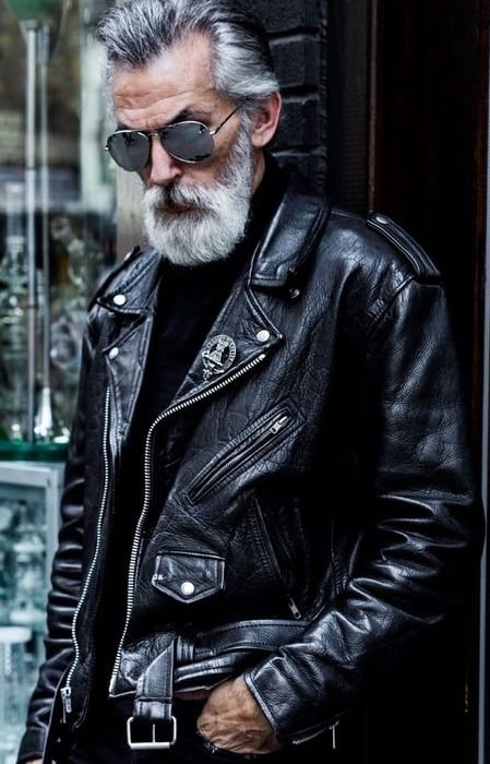sexy old man black leather jacket look