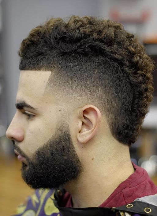 short curly fade