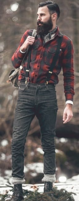 tucked in flannel shirt with suspenders