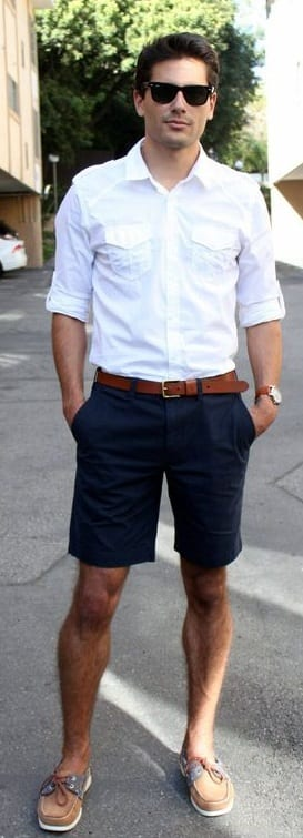white shirt and shorts