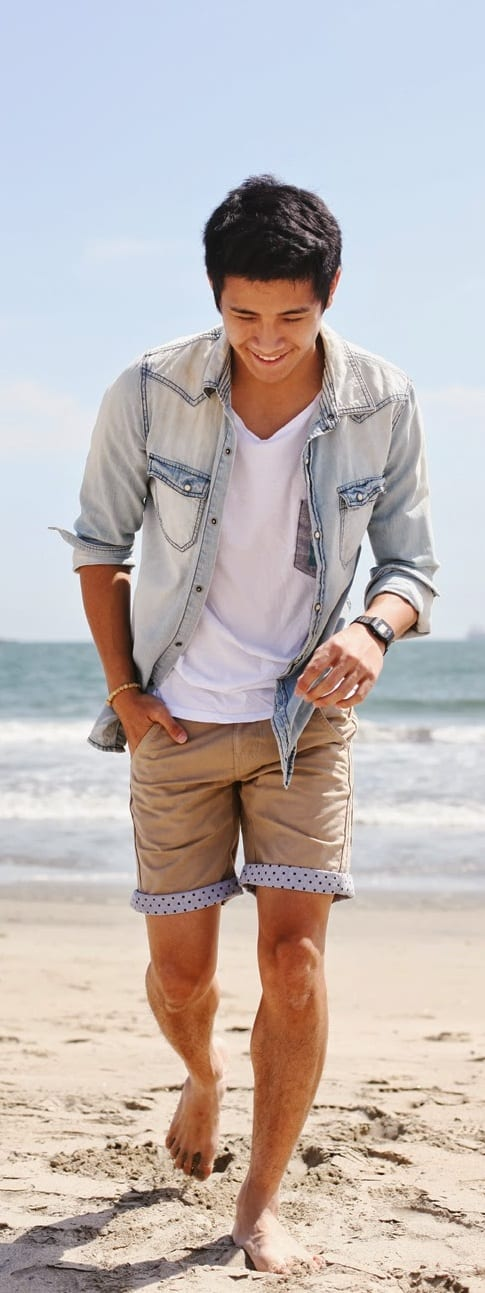 beach outfit men- denim jacket