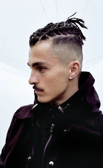 braided top knot undercut clean shave