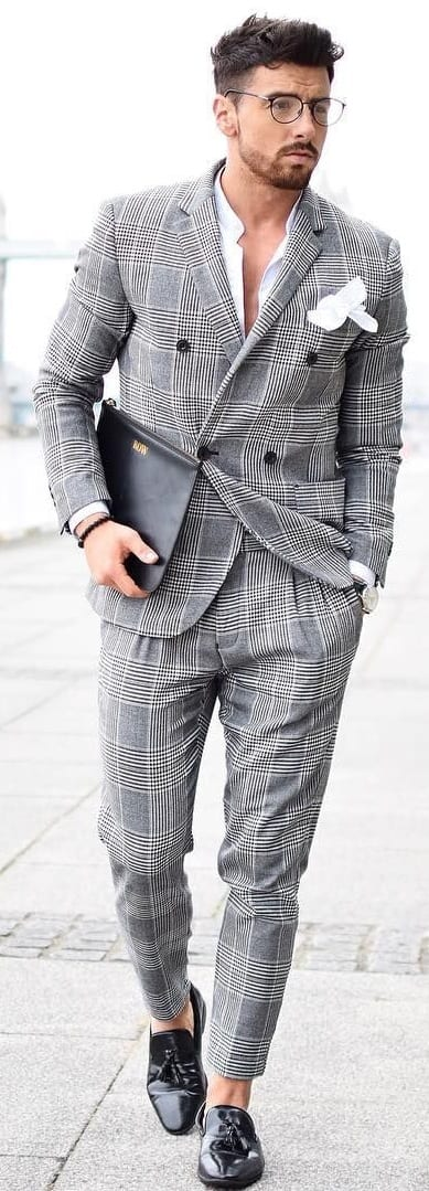 Checked Tailored Suit For Men