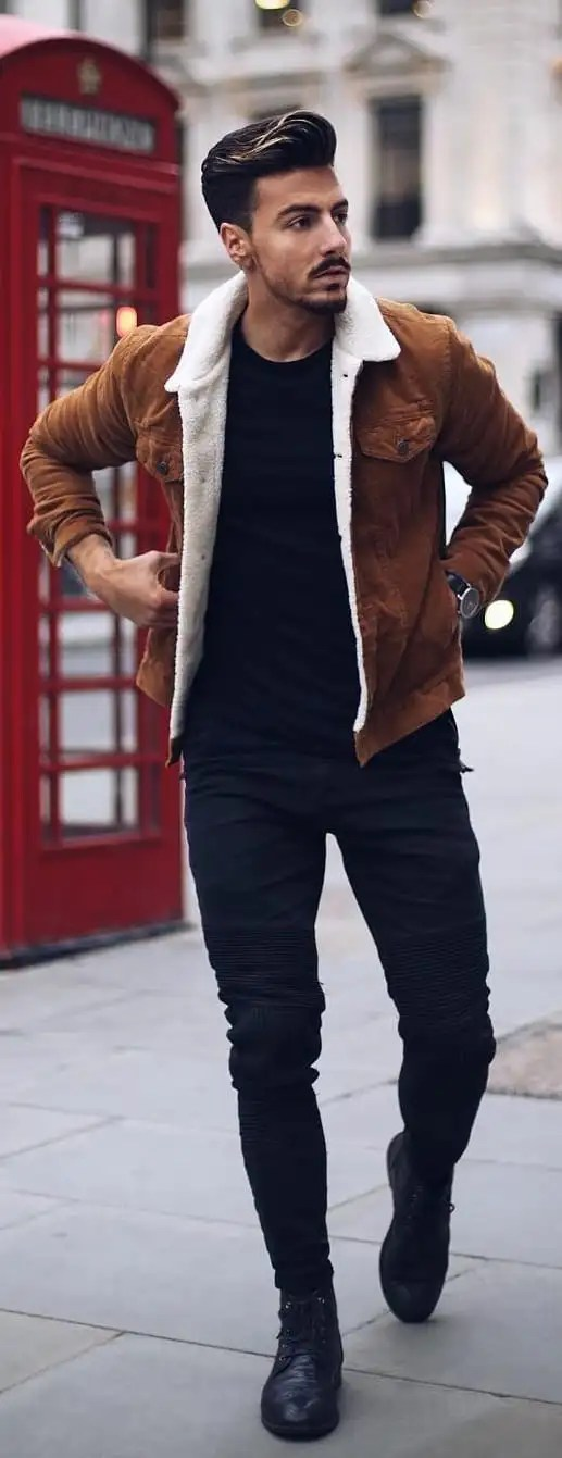 Black T-shirt With Corduroy Jacket Outfit Ideas For Men