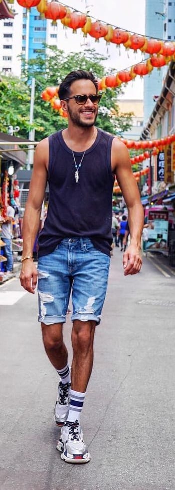 Black Tank Top With Shorts Outfit Ideas For Men