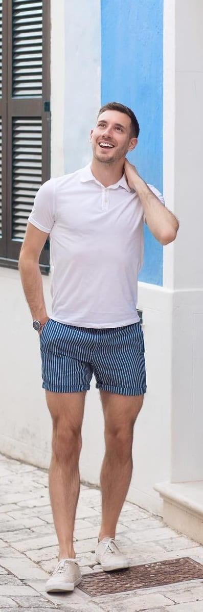 Polo T-shirt With Stripped Shorts For Men