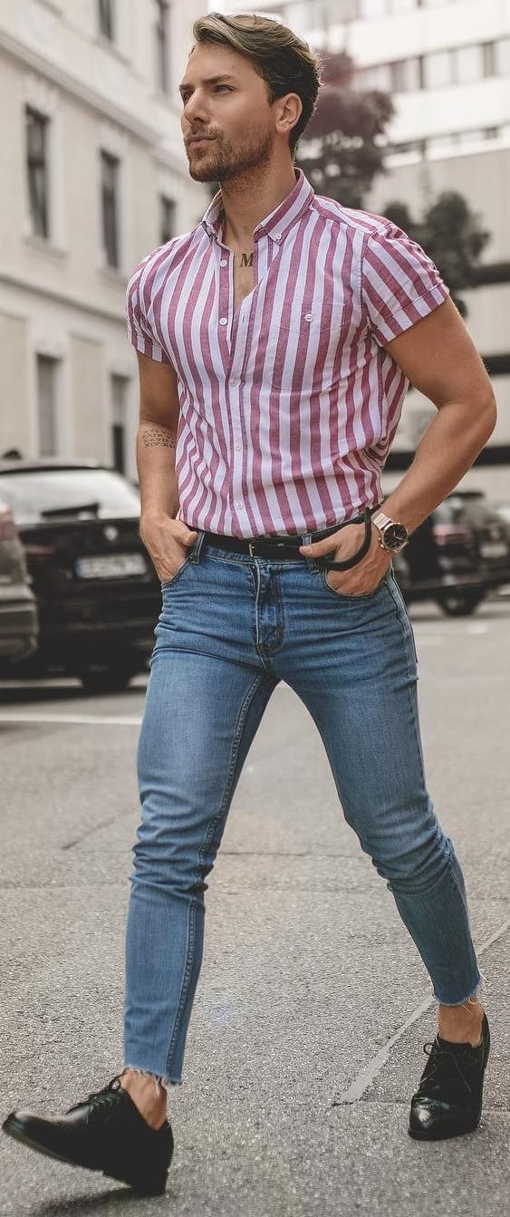 Striped Shirt With Denim Outfit Ideas For Men