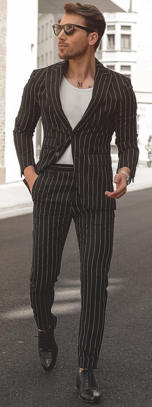 Striped Suit Outfit Ideas For Men