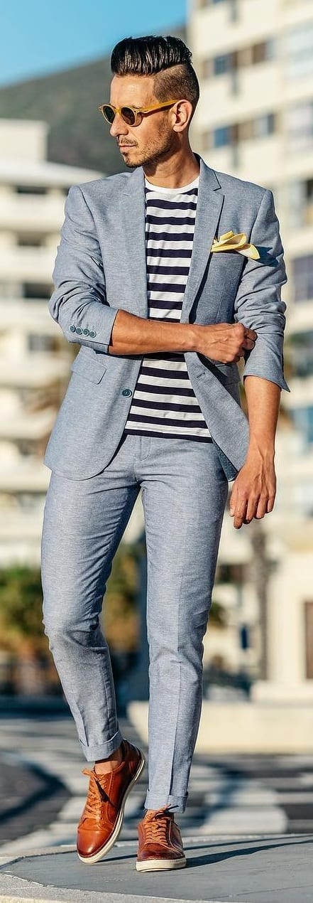 Striped T-shirt With Suit Outfit Ideas For Men