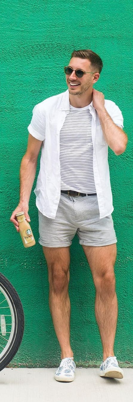 Stripped T-shirt And Shirt Jacket With Shorts For Men
