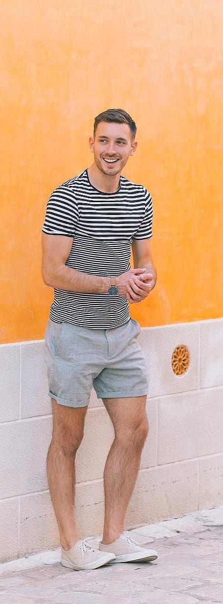 Stripped T-shirt With Shorts For Men