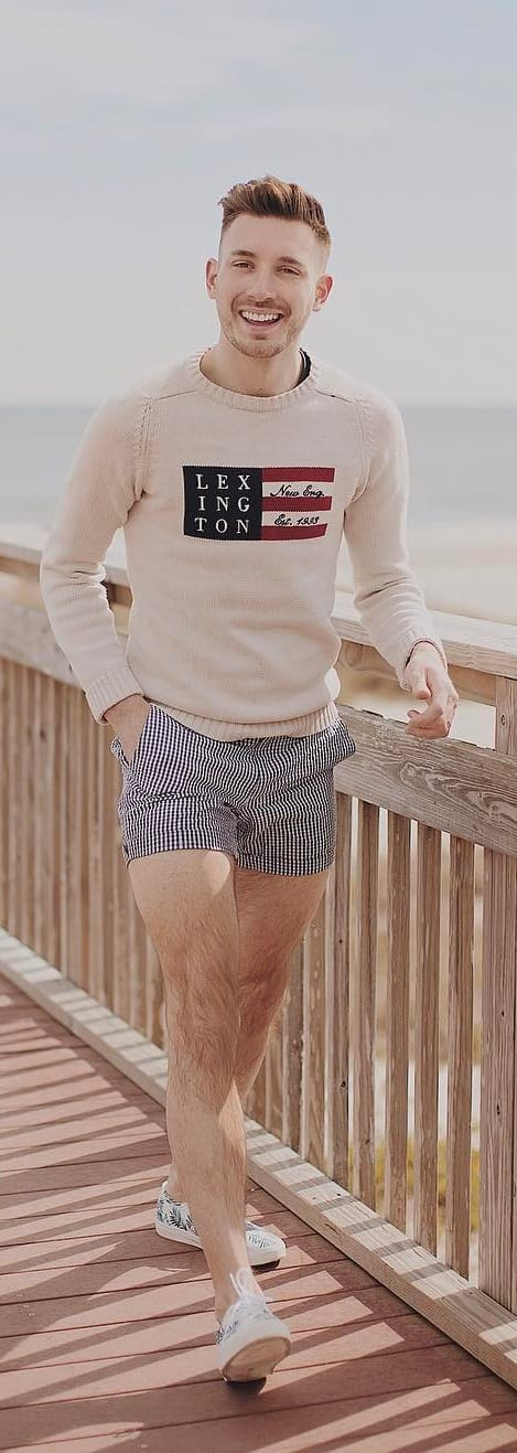 Sweat Shirt With Checked Shorts For Men