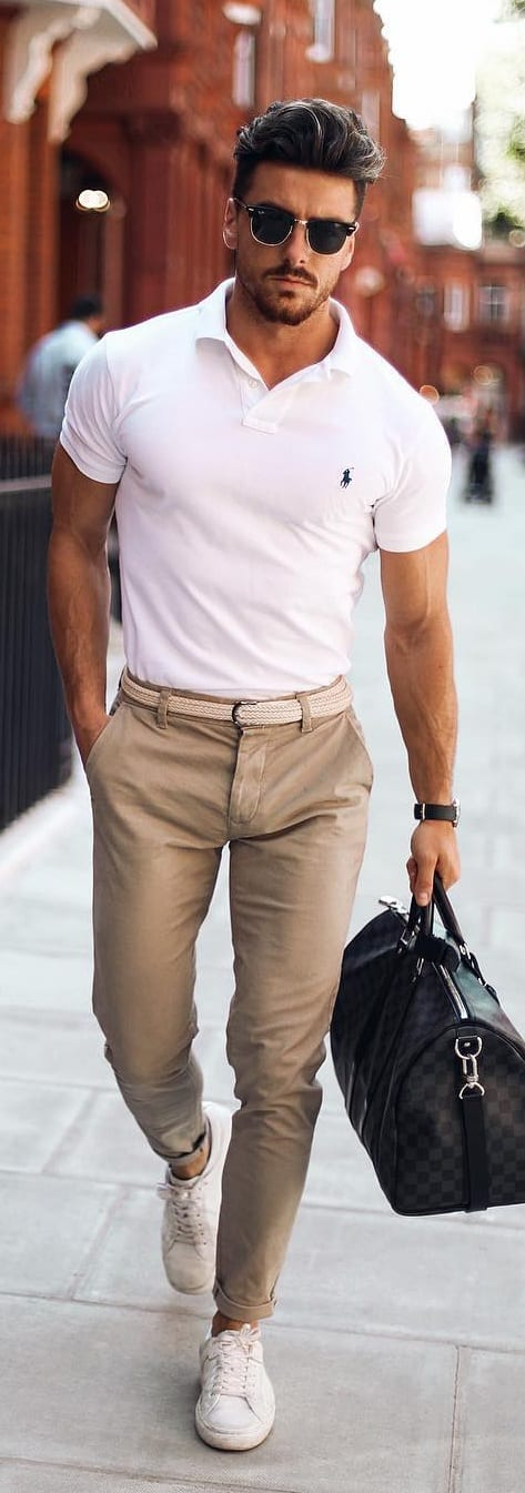 White Polo T-shirt With Chino Outfit Ideas For Men