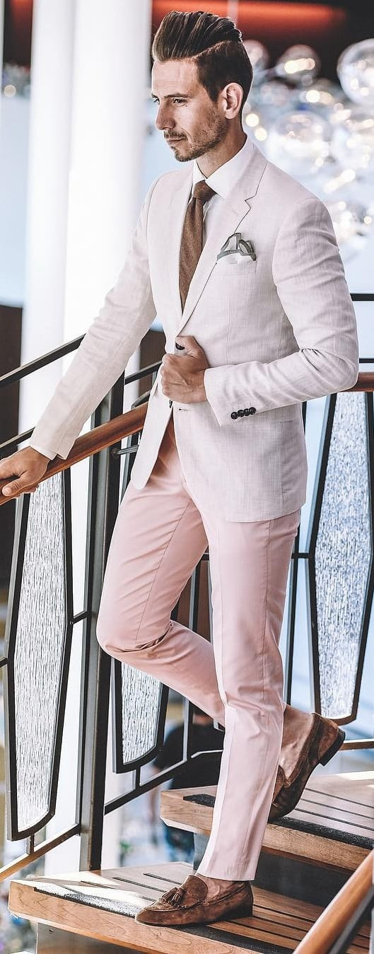 White Shirt And Pink Suit Combinations For Men To Style