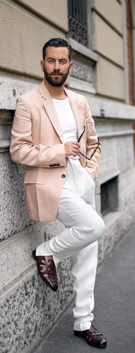 White T-shirt With Blazer Outfit Ideas For Men