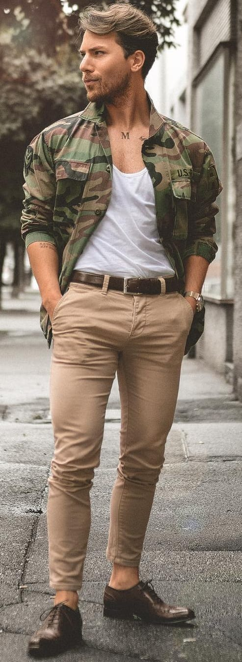 White T-shirt With Military Shirt Jacket Outfit Ideas For Men