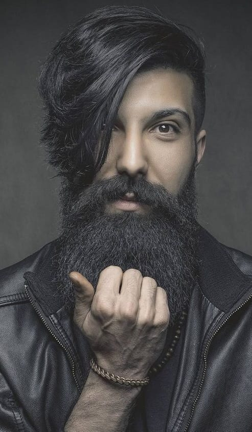 long beard with side part