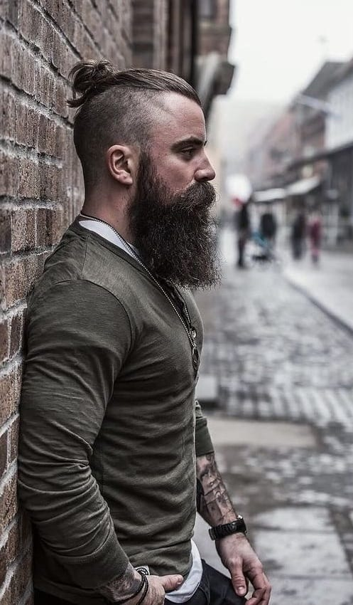 long beard with top knot