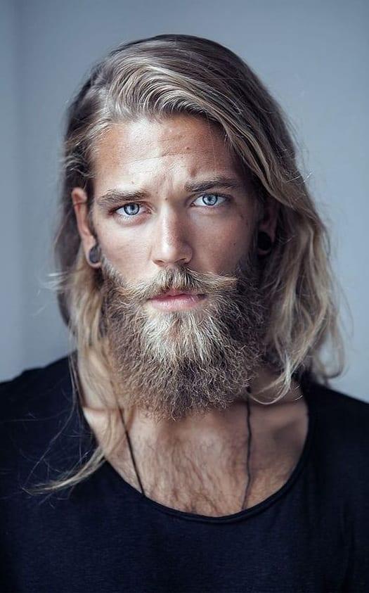 long hair with medium beard