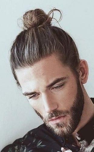 short beard with top knot