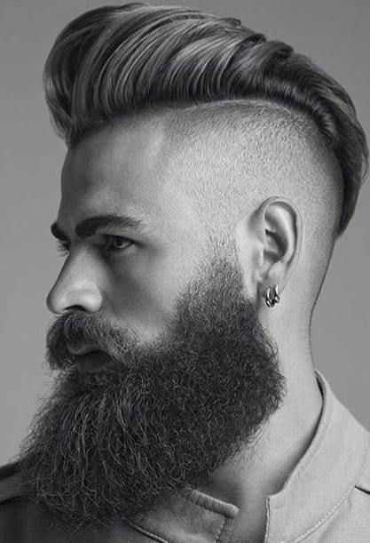 side shaved pompadour with beard