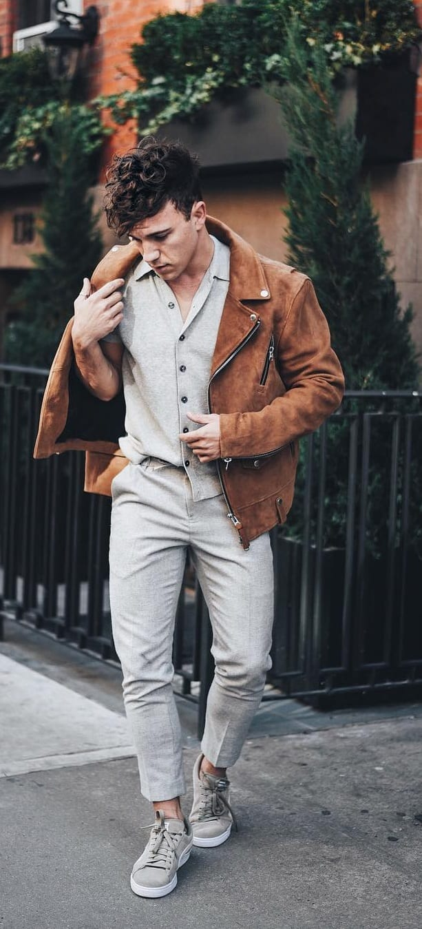 Cool Leather Jacket Outfit Ideas For Men