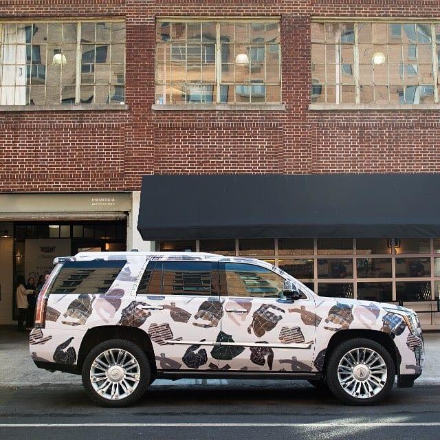 WHITE MATTE CADILLAC SUV