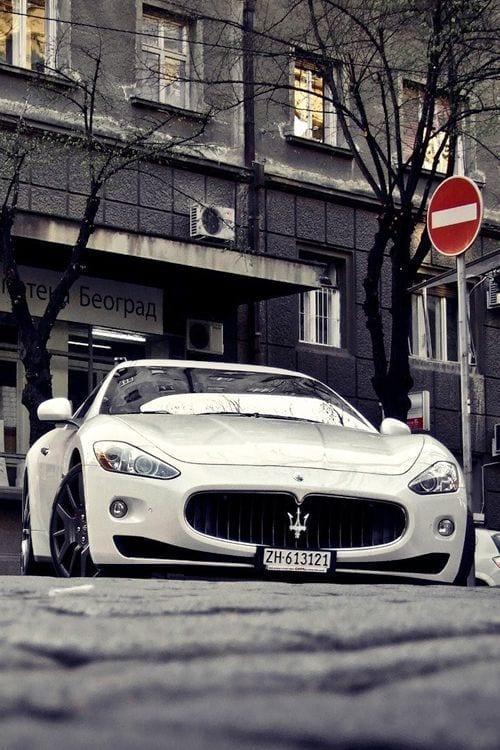 maserati white sports car