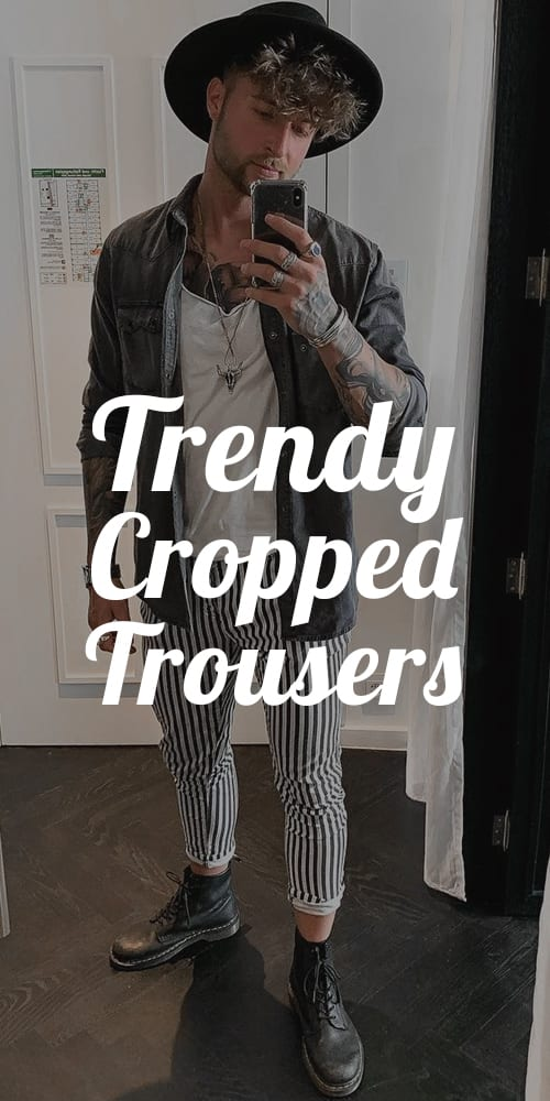 Black and white Cropped Trousers Outfit for men