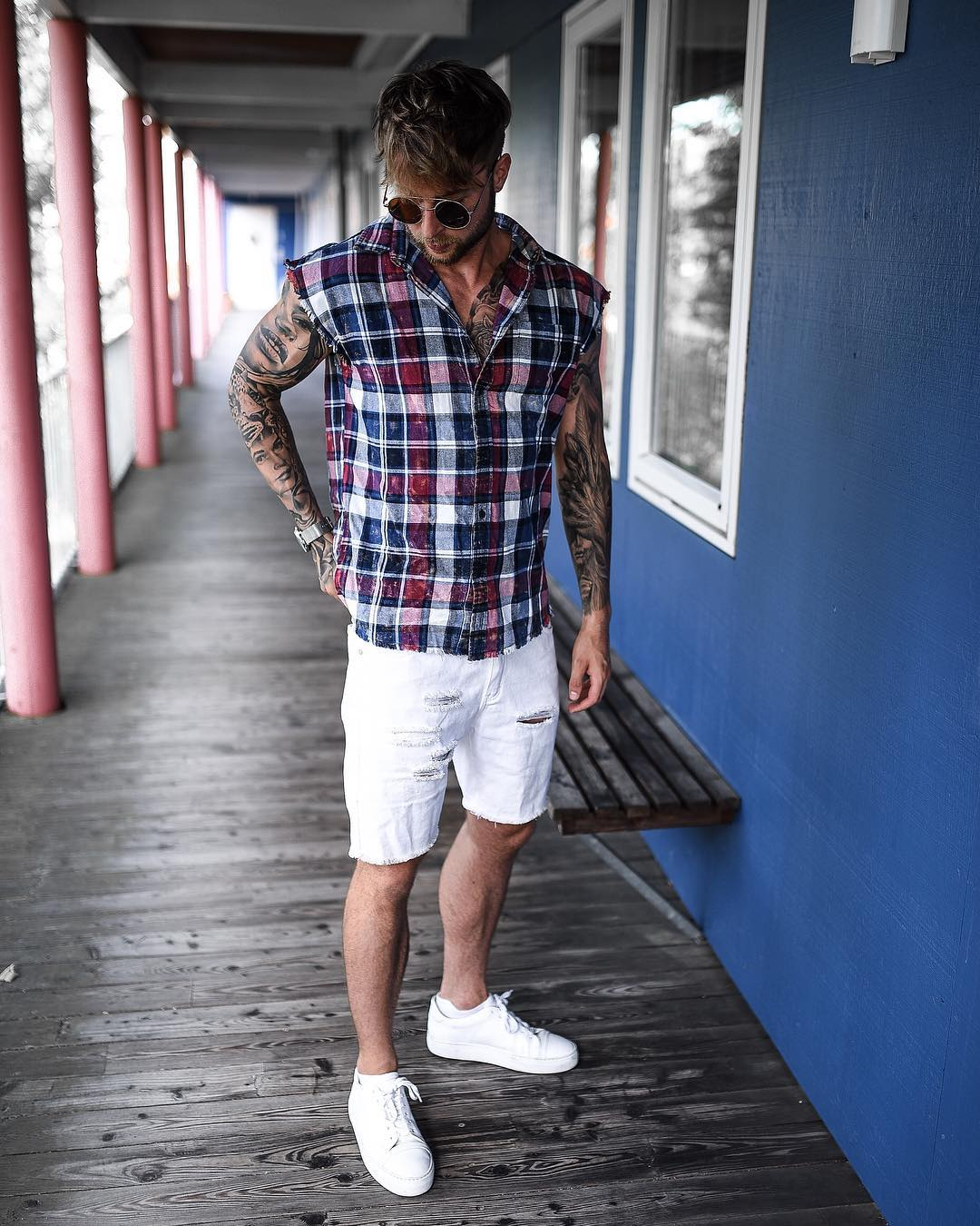 Blue Red Plaid shirt and white shorts ,sunglasses