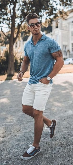 Cool white shorts with collared t-shirt for summer