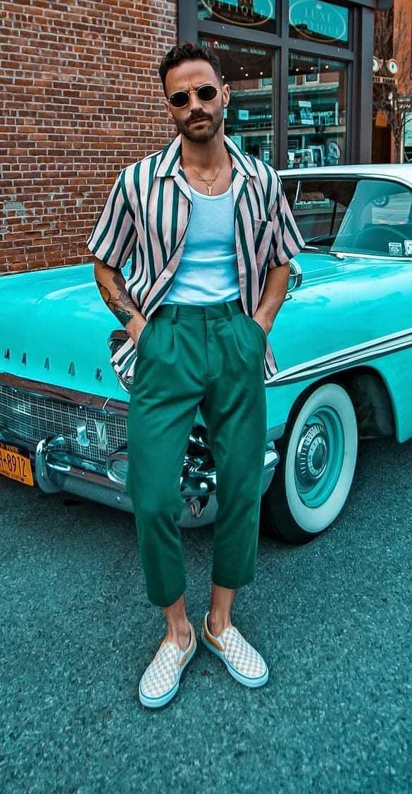 Funky Green Cropped Trouser Outfit for men