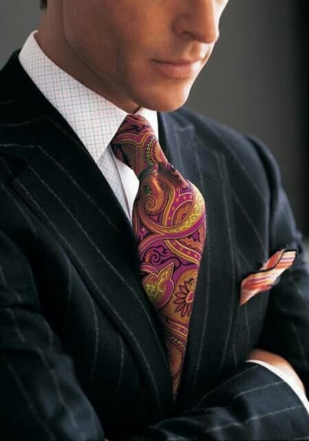 Funky tie,Funky pocket square,Black suit,white shirt
