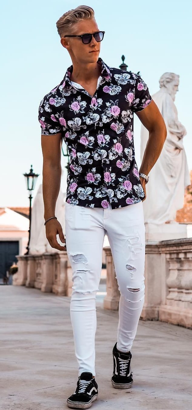 Hawaiian Shirt with distressed White Denims