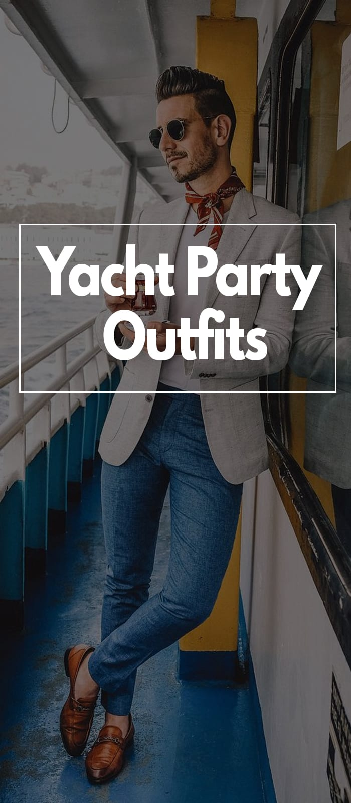 Linen jacket blue jeans white t-shirt outfit for men for yacht party