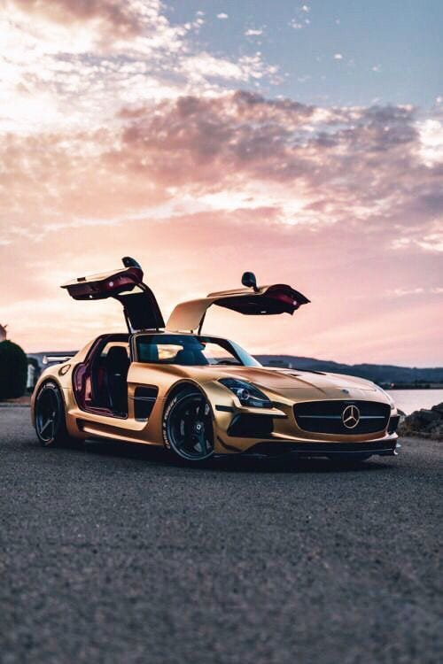 MERC SLS AMG GOLD LUXURY CAR