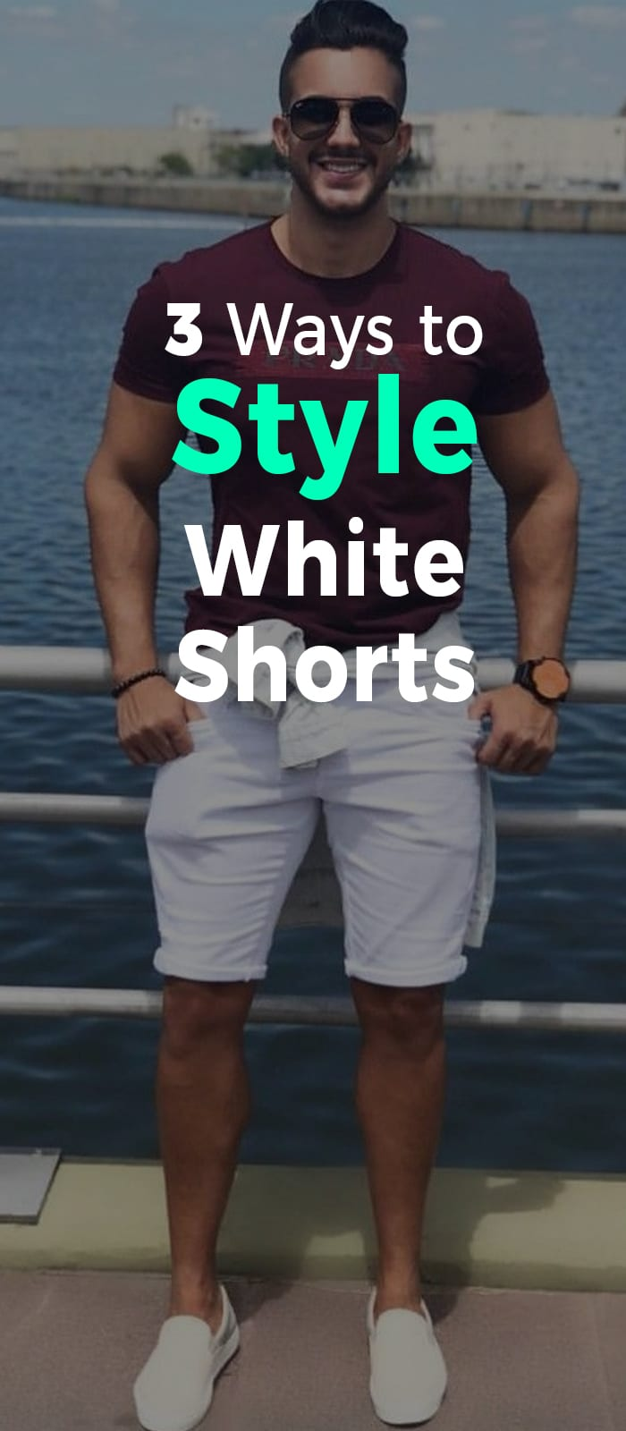 Maroon t-shirt white shorts and sunglasses for men