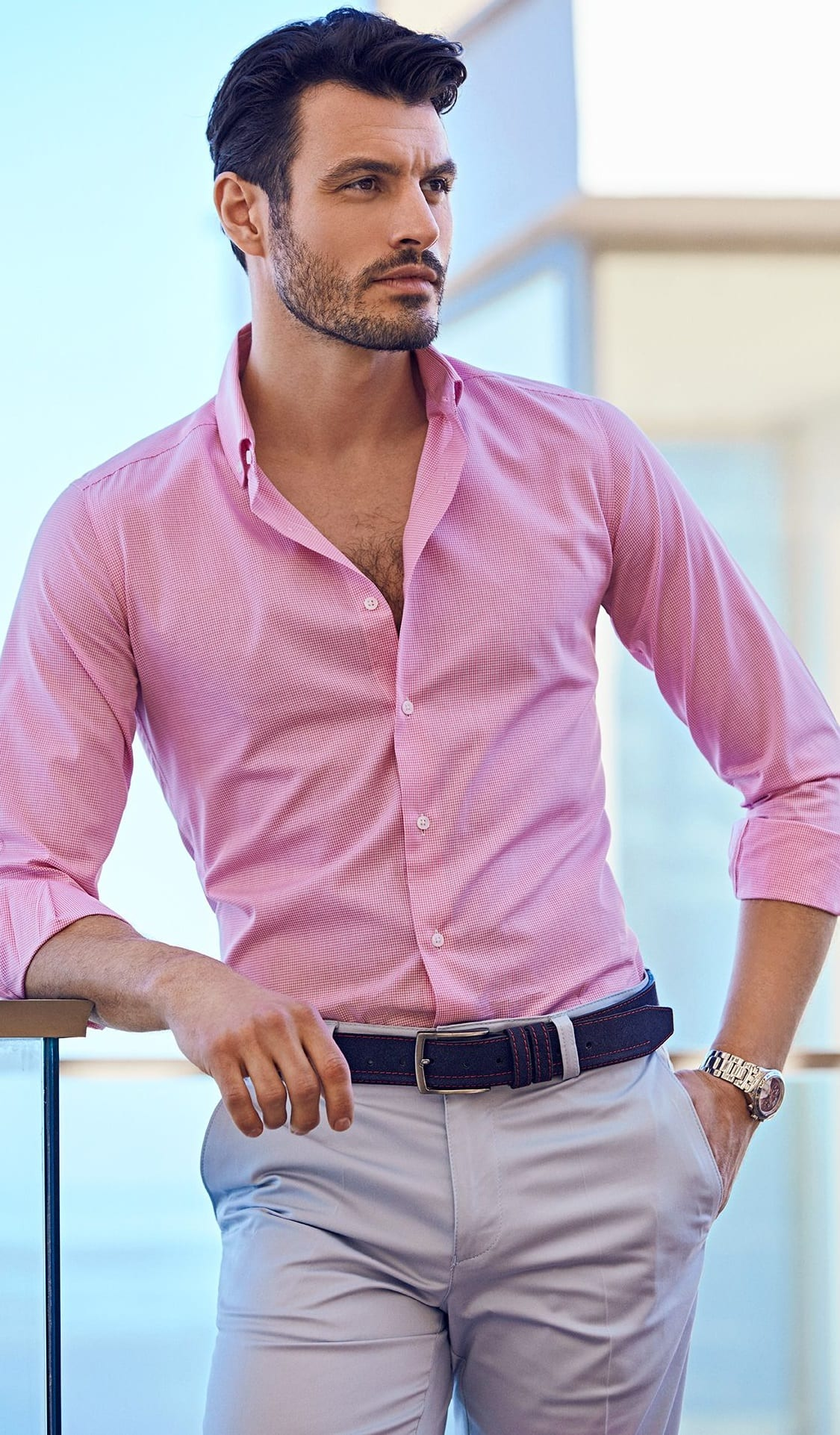 Pink shirt grey pant black belt outfit for men