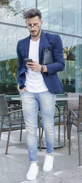 Semi Formals-White t-shirt Royal Blue jacket and sneakers