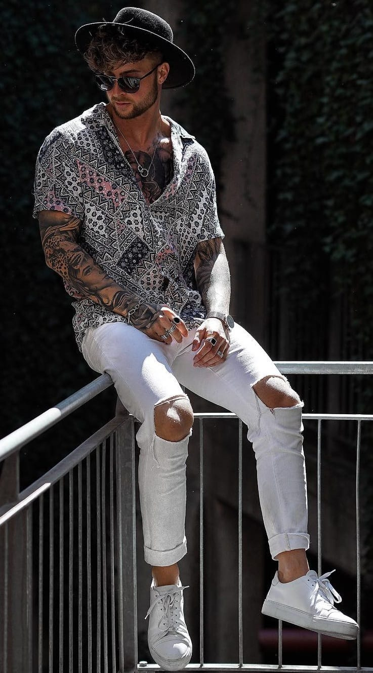White Ripped Denim Black Printed Shirt and White Sneakers