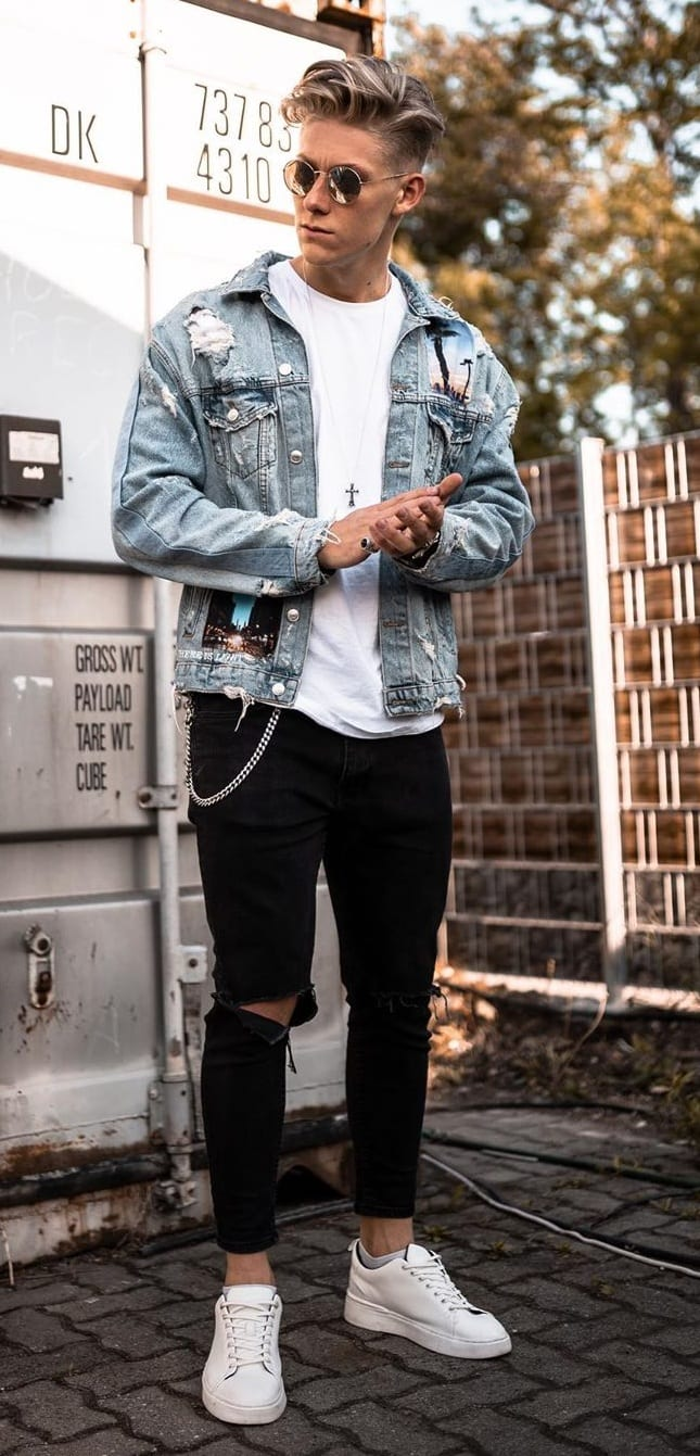 White T-shirt Denim jacket and Black ripped denim with White Sneakers