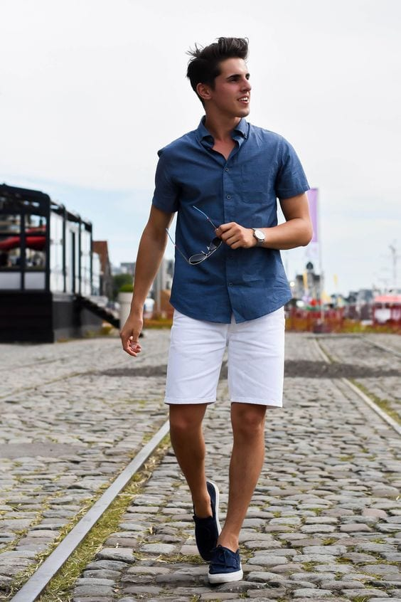 Blue shirt and white shorts for men