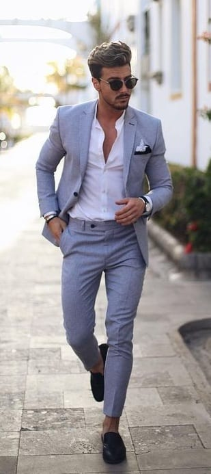 Grey suit, white shirt,sunglasses