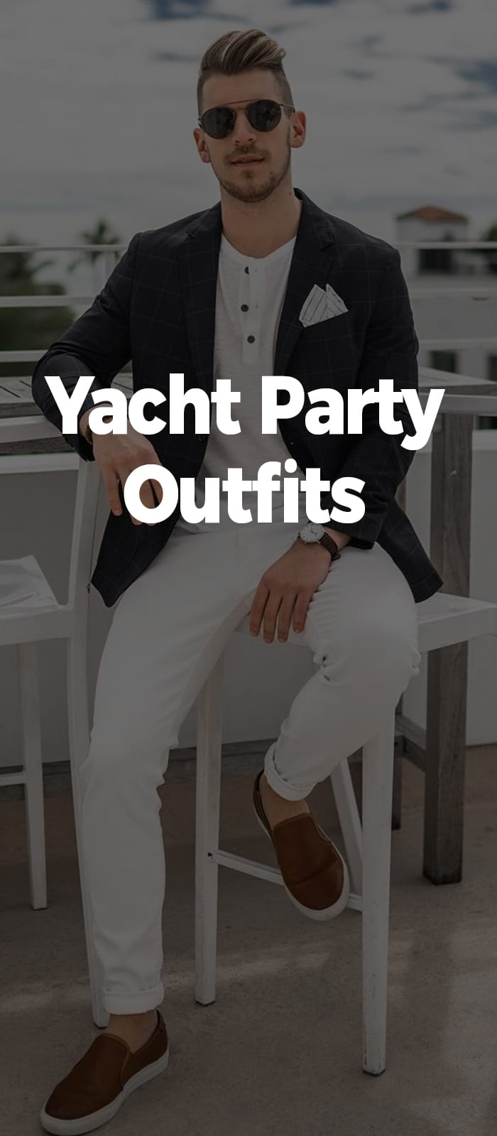 white t-shirt white pant jacket and loafers for yacht party